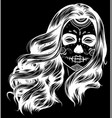 silhouette black and white skull candy girl vector image vector image