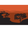 Silhouettes of tress on the lake vector image vector image