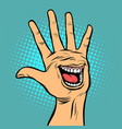 smile joy emotion hi five hand gesture vector image vector image