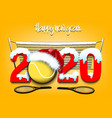 snowy new year numbers 2020 and tennis ball vector image vector image