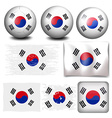 South Korea flag on different objects vector image vector image
