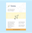 template layout for aeroplane comany profile vector image vector image
