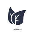 Two leaves icon on white background simple