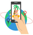 vacation planning with smart phone vector image vector image