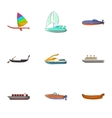 Water transport icons set cartoon style vector image vector image