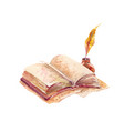 watercolor open book with pen and ink in old vector image