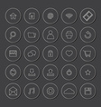 White Line Website Icons Set vector image