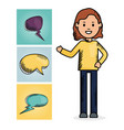 woman with speech bubbles set vector image vector image