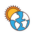 world planet earth with sun vector image vector image