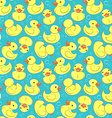 Yellow rubber duck and bubbles seamless kids vector image