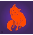 Red cute fox silhouette vector image