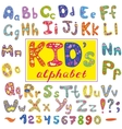 Alphabet in kid style with letters Hand vector image