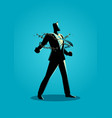 a businessman breaking chains vector image vector image