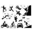 action camera headset man using action camera vector image vector image