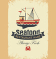 banner for seafood with fishing boat and crab vector image vector image