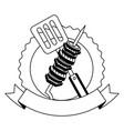 barbecue kebab and spatula emblem vector image vector image