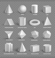 basic 3d geometric shapes collection with names vector image vector image