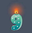 birthday nine candle on dark vector image vector image