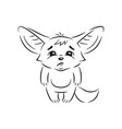 black and white a funny fennec fox looks vector image