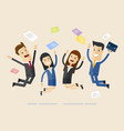 businessmans and womans jump with happiness vector image vector image