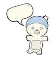 cartoon cute polar bear with speech bubble vector image vector image
