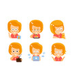 cartoon red-haired girl with a letter cat radio vector image vector image