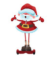 cartoon santa claus is riding a gyroscooter vector image vector image