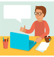 character wearing glasses and working on his lapto vector image vector image