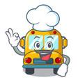 chef school bus character cartoon vector image vector image