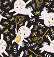 Childish seamless pattern with rabbits butterflies vector image vector image