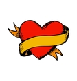Classic tattoo heart and ribbon vector image vector image