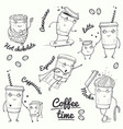 coffee time sketch style characters vector image vector image