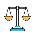 color sections silhouette of justice scales vector image vector image