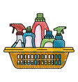 colored crayon silhouette of cleaning products in vector image