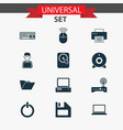 computer icons set collection of broadcast vector image