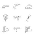 construction tool icon set outline style vector image vector image