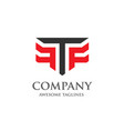 creative letter t and f logo vector image vector image