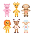 Cute cartoon animals set Baby animals on a white vector image vector image