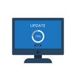 desktop computer with update screen vector image vector image