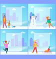 family walking dog winter vector image