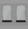 glass plate set on transparent background plastic vector image