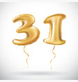 Golden number 31 thirty one of inflatable balloon vector image