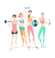 group of beautiful smiling young women standing vector image vector image