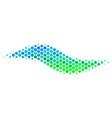 halftone blue-green wave shape icon vector image vector image