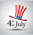 happy 4th of july american flag in a hat vector image