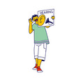 happy boy child character holding card with ear vector image