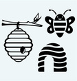 Honey bees and hive vector image