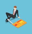 isometric businessman chained with credit card vector image vector image