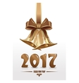 Jingle bells and gold figures 2017 Happy New Year vector image