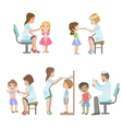 Kids On Medical Examination vector image vector image